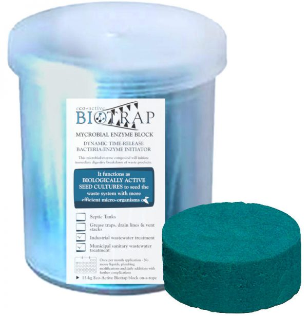 Eco-active biotrap bacterial enzyme block for industrial wastewater lagoon sewer drain cleaning. Dekker Biotech, South Africa