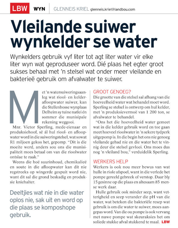 Article excerpt of Winery Wastewater Treatment through the use of Wetlands and Bacteria or Bioremediation. Dekker Biotech, South Africa